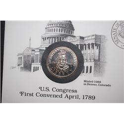 1989-D US Bicentennial Of Congress Commemorative Half Dollar With First Day Issue US Postal Stamps &