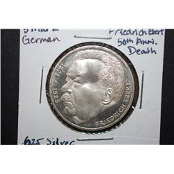 1975-J German 5 Deutsche Mark Foreign Coin; 50th Anniversary Death Of Ebert; .625 Silver .225 Oz.; E