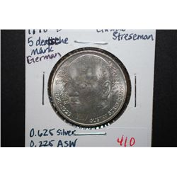 1978-D German 5 Deutsche Mark Foreign Coin; 100th Anniversary Birth Of Stresemann; .625 Silver .225