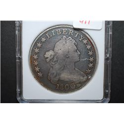 1800 US Drapped Bust $1; MCPCG Graded F12 Details-Improperly Cleaned; EST. $1600-2000