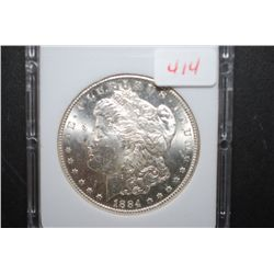 1884-CC US Silver Morgan $1; MCPCG Graded MS63; EST. $220-240