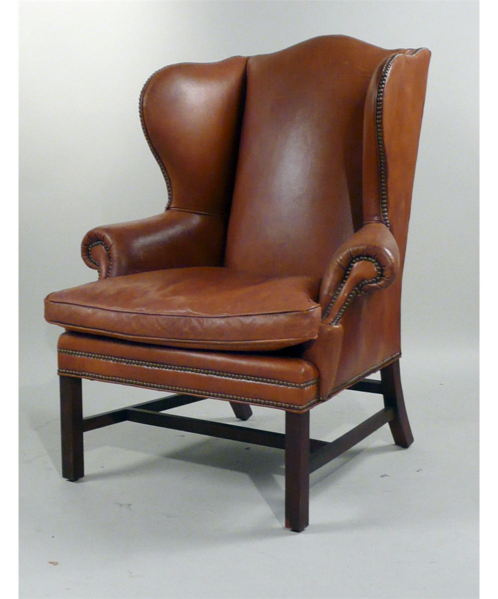 Superior Image 1 : George III Style Henredon Leather Upholstered Wing Chair, 20th  C., ...