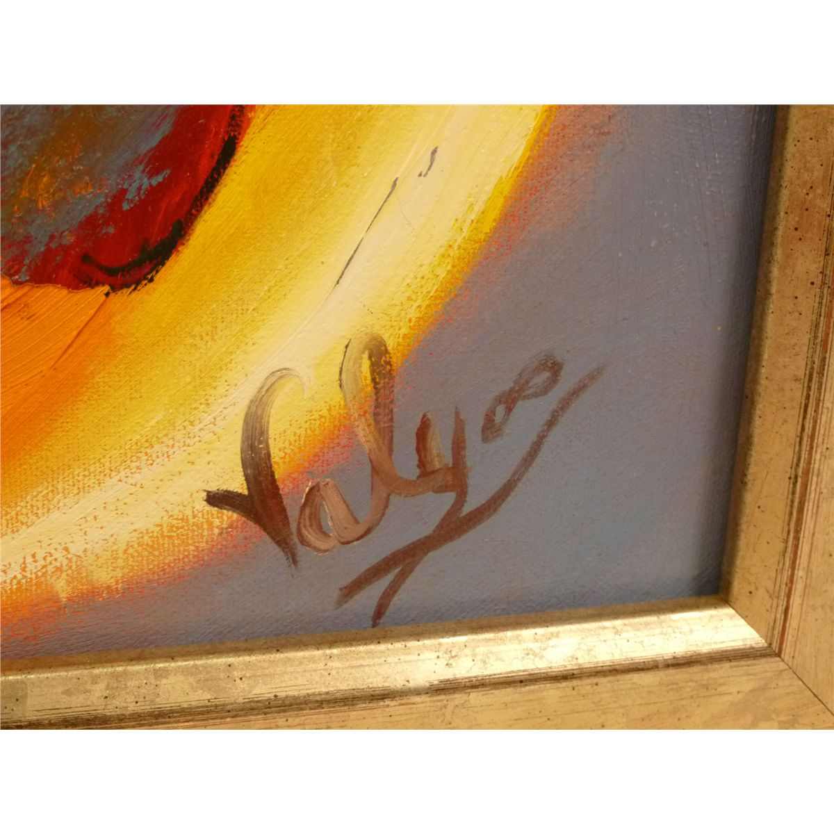 Framed Oil on Canvas, Philippe Valy, Abstract Native American ...