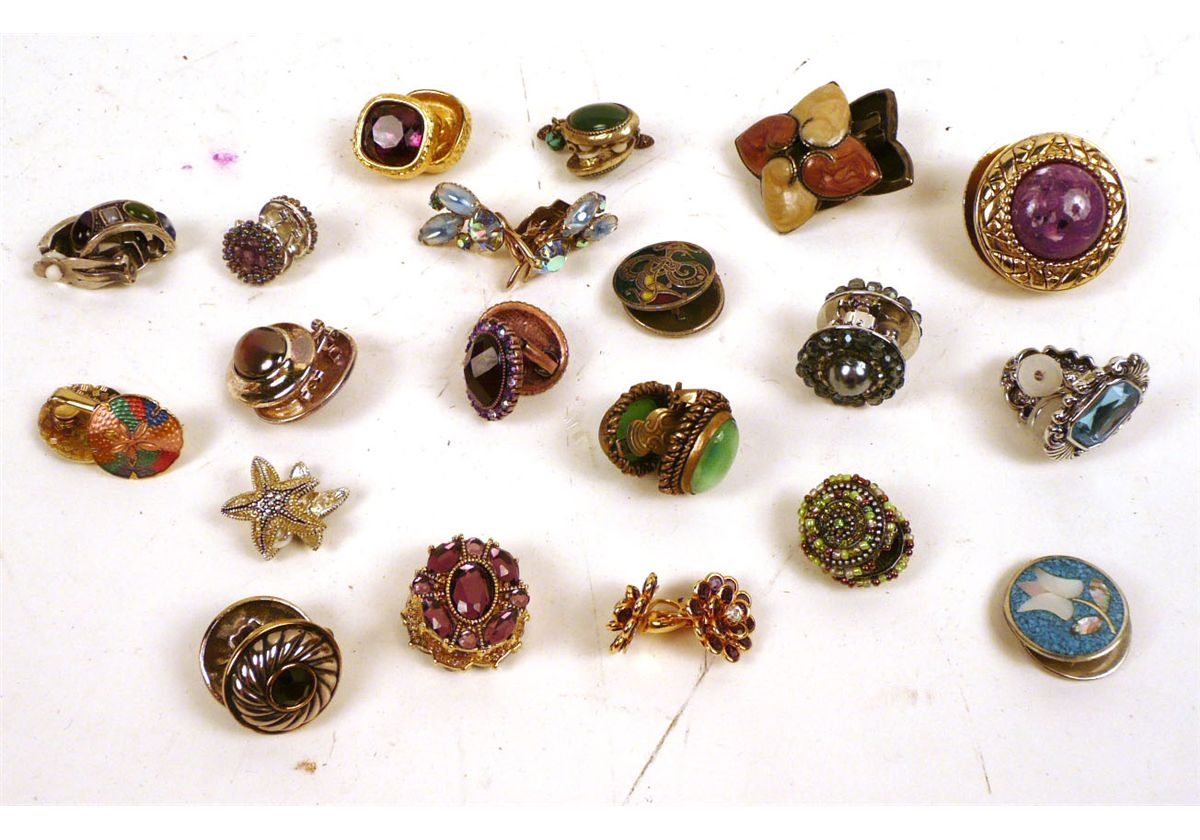 Image 1 Large Group Ornate Costume Jewelry Clip Earrings American 20th C