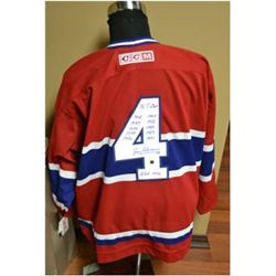 "Montreal Canadiens ""Hockey Hall of Famer 1972"" Jean Beliveau Autographed Vintage Jersey"
