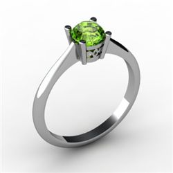 Peridot 0.50 ctw Ring 14kt White Gold