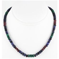 176.86ctw Natural Multi-Color Rondelles Necklace