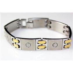 Mens Stainless Screw Head Bracelet 2Tone