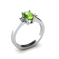 Peridot 0.50 ctw Diamond Ring 14kt White Gold