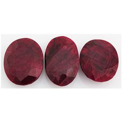 226.04ctw Ruby Oval Cut Loose Gemstone lot of 3