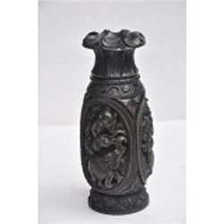 Dark Color Haldu Wood Flower Vase size 10in.x4.5in.
