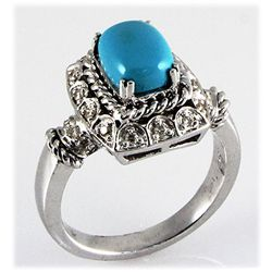 Genuine 1.63ctw Turquoise Diamond Ring 14kt W/G 6.80g