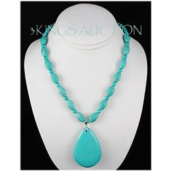 Natural 338.72ctw Turquoise Sterling Silver Necklace