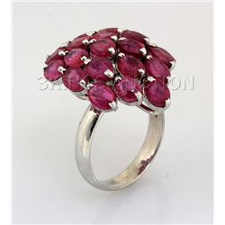 33.78CTW Pink Ruby Cluster Design Silver Ring