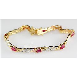 Sterling Gold 4.77 ctw Ruby Bracelet