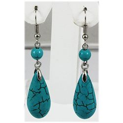 Natural 42.90ctw Turquoise Silver Dangling Earring
