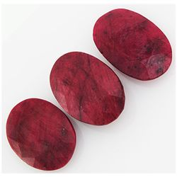 132.34ctw Ruby Oval Cut Loose Gemstone lot of 3