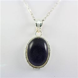 Sterling Silver Pendant Blue Golden Sandstone Gems