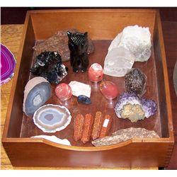 Stone and Mineral Collection Including a Wood Box