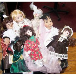 Eight Collectible Dolls