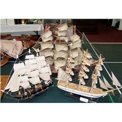 Three Model Wooden Ships