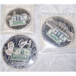 (3x$) BANK NOTES OF THE UNITED STATES COMMEMORATIVES $20. $50. $100