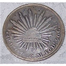 1876 SILVER 8 REALES W/ COUNTER MARKS-MEXICO RARE