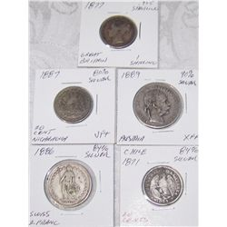 (5X$) RARE 1880'S SILVER COINS, EUROPE & SOUTH AMERICA