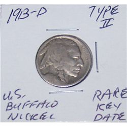RARE KEY DATE 1913-D TYPEII BUFFALO NICKEL