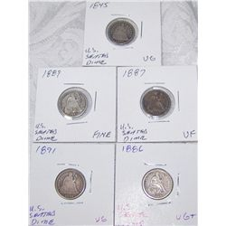 (5X$) U.S SILVER SEATED DIMES 1845-1891 VG-VF CONDITION