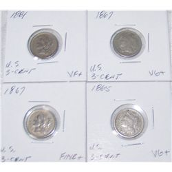 (4X$) U.S CENT COINS 1865-1881 VG+ to VF+ CONDITION