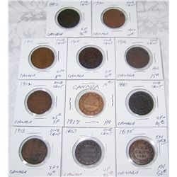 (11X$) CANADIAN CENTS VF-AU+ CONDITION 1859-1912