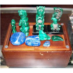 Nine Malachite and Lapis Lazuli Stones in Wood Box