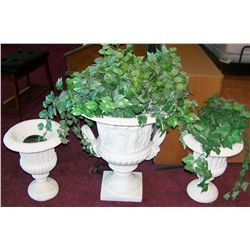 Three Grecian Style Flower Pots