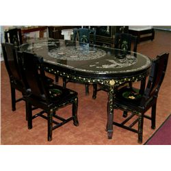 Vintage Asian Dining Table w/ Six Chairs