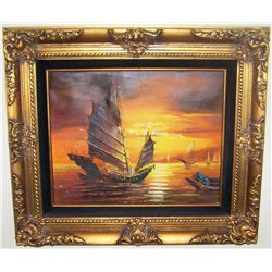 Chinese Ships in Harbor Painting