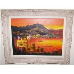 Ships in Hong Kong Harbor Original Painting