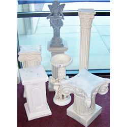 Seven Outdoor Faux Marble Pedestals