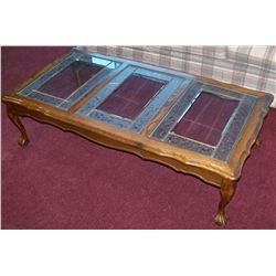 Vintage Oak w/ Glass Top Coffee Table