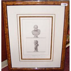 Custom Framed Antique Style Engraving