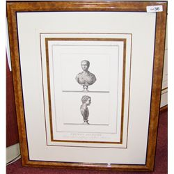 Custom Framed Antique Style Print of Roman Bust