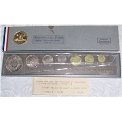 1967 French Fleur 5 De Coins Mint Set Including 10, 5 Francs Silver