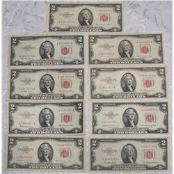 (9X$) $2 U.S. Notes- Choice AU Series 1953 Including Star Notes
