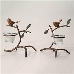 Pair Sparrow Votive Holders