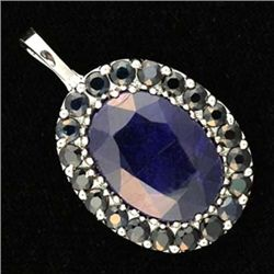 17.5 Ctw. Sapphire Pendant In 10kw Gold