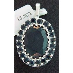 13.5 Ctw. Genuine Sapphire Pendant In Sterling Silver