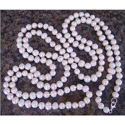"Genuine 30"" White Cultured Pearl Necklace"
