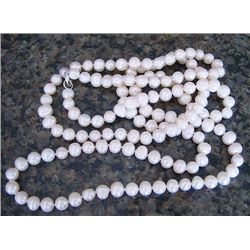 "Genuine 26"" White Cultured Pearl Necklace"