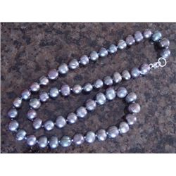 "Genuine 20"" Grey Peacock Cultured Pearl Necklace"