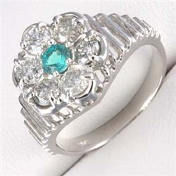 1.0 Ctw. Diamond &  Emerald Ring In 10kw Gold